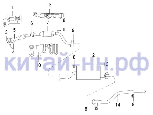 Глушитель GREAT WALL Hover H5 (бензин)