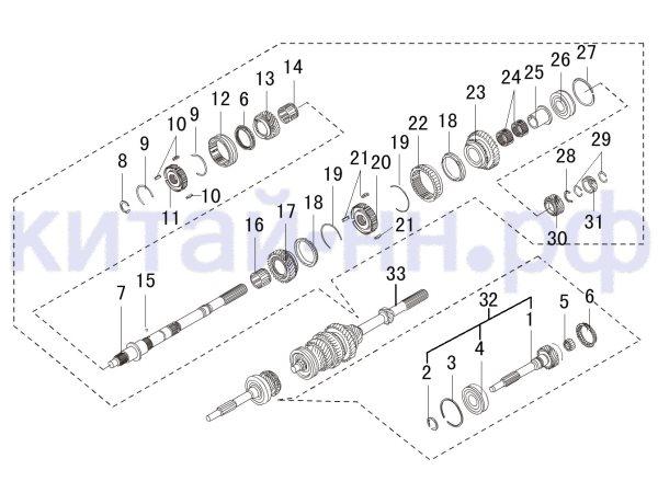 КПП, вал КПП первичный, вторичный GREAT WALL Hover H3
